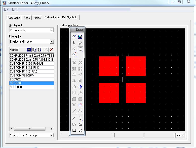 Изображение Custom Pads & Drill Symbols в Padstack Editor